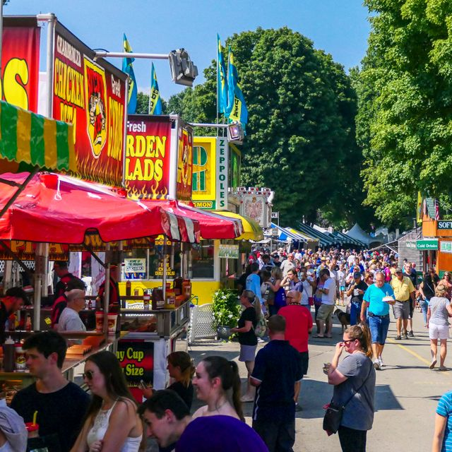 Rhinebeck, New York, USA July 2, 2019 Crowds of visitors at the Dutchess County Fair. Shutterstock