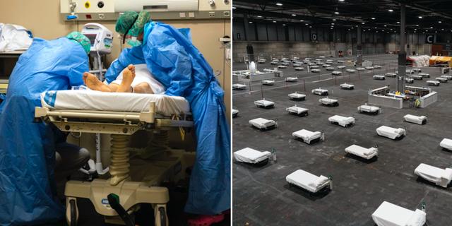 Vårdpersonal på ett annat sjukhus i Spanien / Fältsjukhuset innan det togs i bruk TT