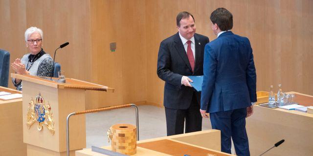Löfven och talmannen Andreas Norlén. TT NEWS AGENCY / TT NYHETSBYRÅN