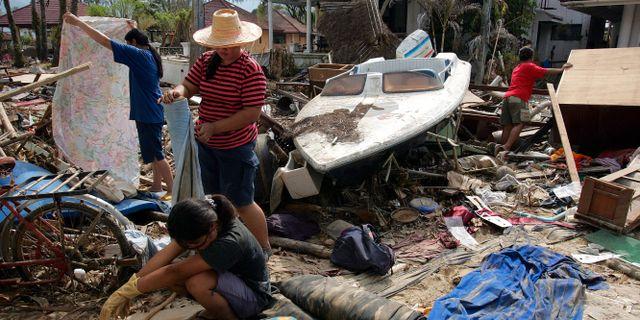 Ett hus vid Kamala beach i Thailand som förstördes i tsunamin.  VINCENT YU / TT NYHETSBYRÅN