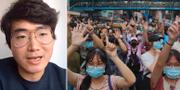 Simon Cheng i videosamtal från London/demokratiaktivister i Hongkong, arkivbild. TT