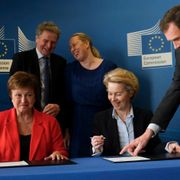 Brussels, Belgium. 28th January 2020. Kristalina Georgieva , Managing Director of the IMF and EU Commission President Ursula von der Leyen during a Signature of a Financial Agreement. Shutterstock