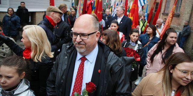 LO-ordförande Karl-Petter Thorwaldsson förstamajtågar i Göteborg tidigare i år. Arkivbild. Adam Ihse/TT / TT NYHETSBYRÅN