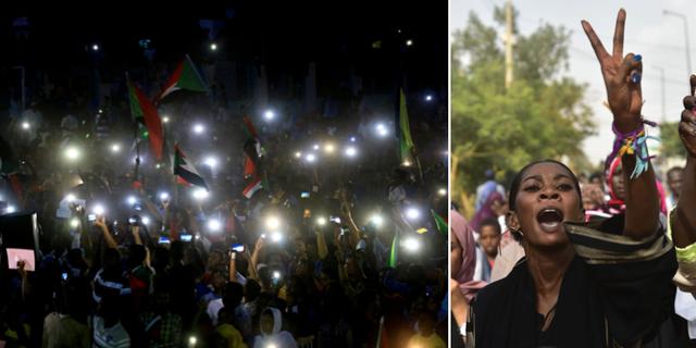 Tusentals demonstranter hedrade dödsoffren. TT