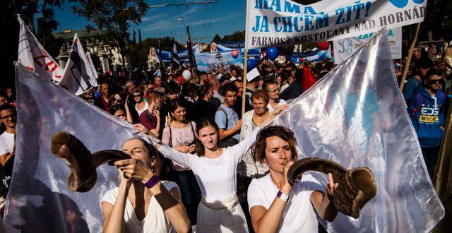 """Demonstranter bar skyltar med budskap som """"Ett liv är ett liv oavsett storlek"""" och """"Den som dödar ofödda barn dödar nationens framtid"""". VLADIMIR SIMICEK / AFP"""