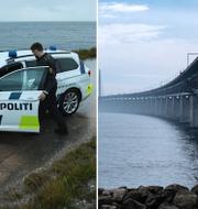 En dansk polisbil och Öresundsbron.  TT
