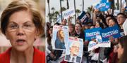 Elizabeth Warren och anhängare till Bernie Sanders. TT