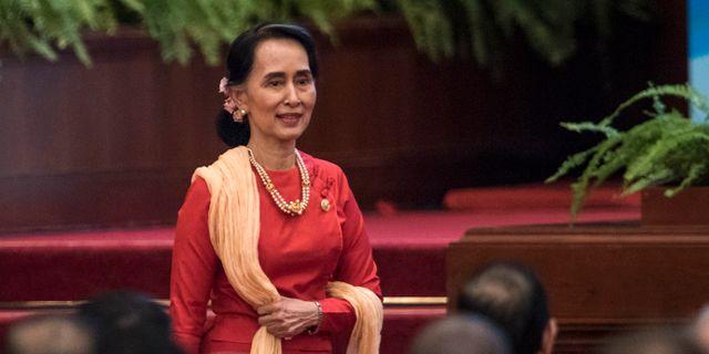 Burmas ledare Aung San Suu Kyi. FRED DUFOUR / TT / NTB Scanpix