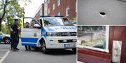 Polisen på plats i Sollentuna i helgen. Skotthåll efter skjutningarna. TT