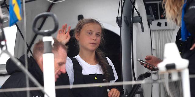 Greta Thunberg på Malizia II. JOHANNES EISELE / AFP