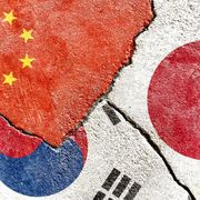 The flags of China, South Korea and Japan.  Shutterstock