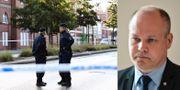 Vänster: Poliser utanför lokalen i Malmö. Höger: Justitie- och inrikesminister Morgan Johansson (S). TT