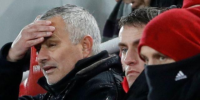 Mourinho under matchen mot Liverpool i helgen.  CARL RECINE / TT NYHETSBYRÅN