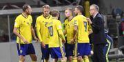 Sveriges förbundskapten Janne Andersson diskuterar med spelarna under måndagens VM-kvalmatch mot Italien.  Jonas Ekströmer/TT / TT NYHETSBYRÅN