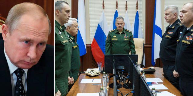 Vladimir Putin/Möte efter ubåtsbranden. TT