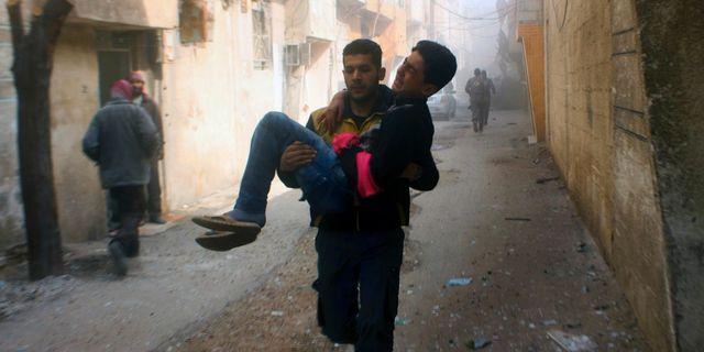 Bild från östra Ghouta på lördagen. Uncredited / TT NYHETSBYRÅN