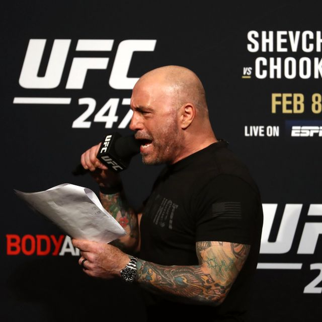 In this file photo taken on February 7, 2020 Joe Rogan speaks during the UFC 247 ceremonial weigh-in at Toyota Center in Houston, Texas. RONALD MARTINEZ / TT NYHETSBYRÅN