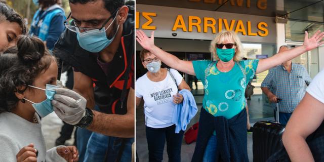 Barn i läger får hjälp med munskydd/turister anländer till Kreta. TT