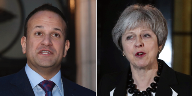 Leo Varadkar och Theresa May.  TT