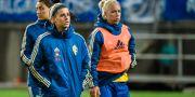 Olivia Schough och Caroline Seger under Algarve Cup. LUDVIG THUNMAN / BILDBYRÅN