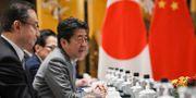 Japans premiärminister Shinzo Abe under toppmötet tillsammans med Kinas premiärminister Li Keqiang och Sydkoreas president Moon Jae-in.  Wang Zhao / TT NYHETSBYRÅN