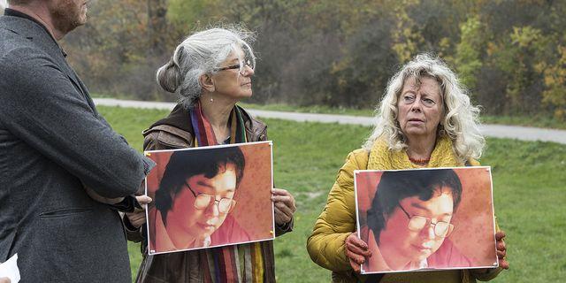 En stödmanifestation utanför Kinas ambassad för den svensk-kinesiske förläggaren Gui Minhai som varit frihetsberövad i Kina i tre år. TT