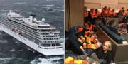 Fartyget på väg mot land igen, samt passagerare ombord på båten. AP/TT