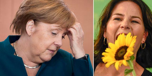 CDU:s ledare Angela Merkel/De grönas ledare Annalena Baerbock. TT