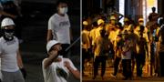 Vitklädda och maskerade män överföll demonstranter och vanliga civila under söndagens protester i Hongkong. TT