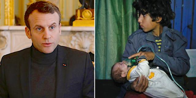 Macron (t v), barn vårdas efter misstänkt klorgasattack i januari (t h). TT