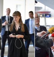 Vänsterpartiets Jonas Sjöstedt och Kristdemokraternas Ebba Busch Thor inför riksdagsdebatten om EU-valet.  TT