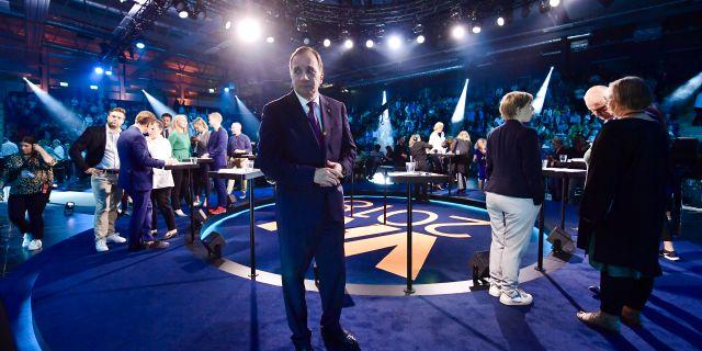 Socialdemokraternas partiledare Stefan Löfven under TV 4:s partiledardebatt igår. Stina Stjernkvist/TT / TT NYHETSBYRÅN