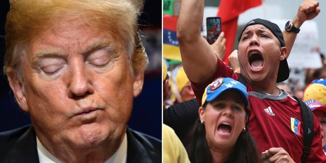 Donald Trump/Exilvenezuelaner i USA demonstrerar mot förra helgens valresultat. TT