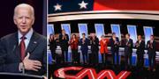 Joe Biden och de tio demokraterna som ställde upp i debatten. TT