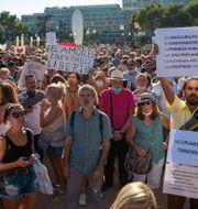 Demonstranter i Madrid. Andrea Comas / TT NYHETSBYRÅN