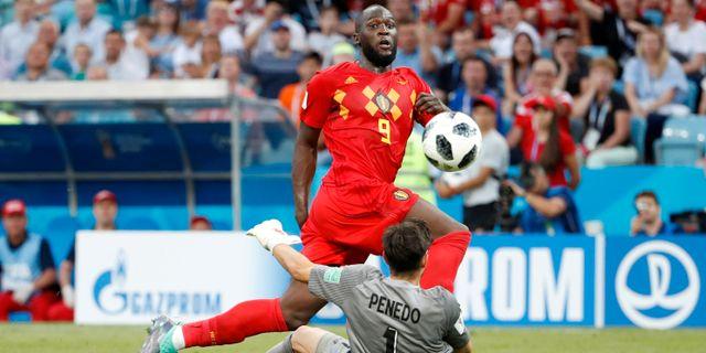 Belgiens anfallsstjärna Romelu Lukaku i segermatchen mot Panama. FRANCOIS LENOIR / BILDBYR N