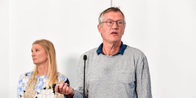 Statsepidemiolog Anders Tegnell vid fredagens pressträff. Anders Wiklund/TT / TT NYHETSBYRÅN