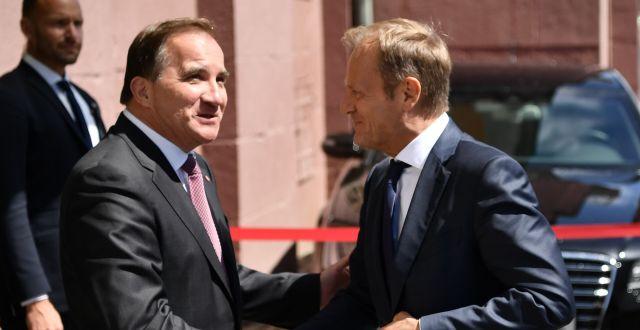 Stefan Löfven mötte Europeiska rådet ordförande Donald Tusk under ett möte igår. Erik Simander/TT / TT NYHETSBYRÅN