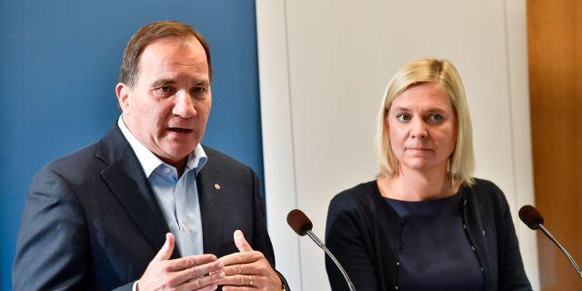 Stefan Löfven och Magdalena Andersson. Jonas Ekströmer/TT / TT NYHETSBYRÅN