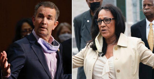 Virginias guvernör Ralph Northam och Billie Brown, talesperson för organisationen Cannabis Equity Coalition som vill använda skatteintäkterna för sociala reformer.  TT