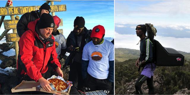 Ryggsäcken var specialdesignad för att hålla pizzan horisontell under vandringen upp till Kilimanjaros topp. Pizza Hut