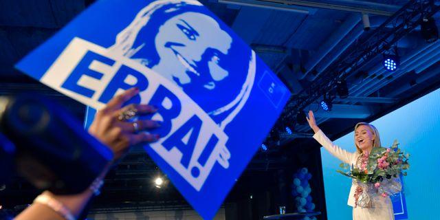 Ebba Busch Thor under valvakan i höstas.  Jessica Gow/TT / TT NYHETSBYRÅN