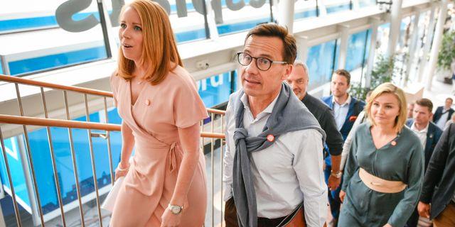 Annie Lööf (C), Moderaternas partiledare Ulf Kristersson (M), Kristdemokraterna Ebba Busch Thor (KD).  Vilhelm Stokstad/TT / TT NYHETSBYRÅN