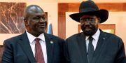 Rebelledaren Riek Machar och president Salva Kiir. ALEX MCBRIDE / TT NYHETSBYRÅN