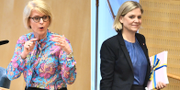 Elisabeth Svantesson och Magdalena Andersson i samband med debatten. TT
