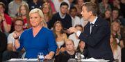 FRP:s och Siv Jensen och Hareide under en partiledardebatt 2017. Hommedal, Marit / TT NYHETSBYRÅN
