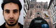 Polisen efterlysning av Cherif Chekat (t v). TT