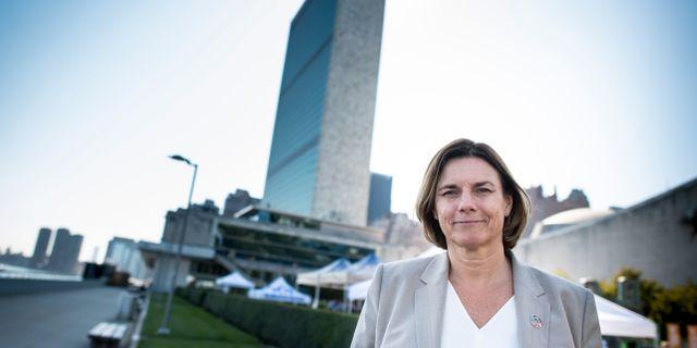 Sveriges miljö- och klimatminister Isabella Lövin (MP) på plats i New York för FN:s klimatkonferens. Pontus Lundahl/TT / TT NYHETSBYRÅN
