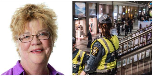Lena Mellin, ordningsvakt på Stockholms Centralstation på fredagen TT