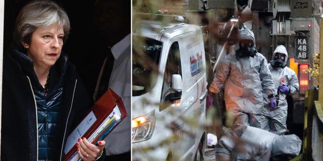 Theresa May/Poliser som arbetar med utredningen av mordförsöket på den ryske dubbelagenten. TT